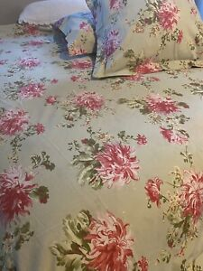 Pottery Barn B B Green Pink Floral Queen Shabby Cottage Chic Duvet 2 Euro Shams