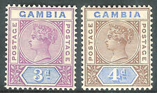 Gambia 1898 purple/blue 3d browb/blue 4d crown CA mint SG41/42