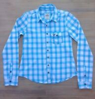 Hollister Blue Checked Long Sleeve Cotton Shirt Size S (approx. Size 8)