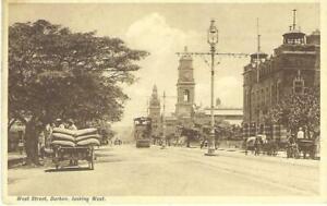SOUTH AFRICA POSTCARD 1930's - DURBAN - TRAM ON WEST STREET