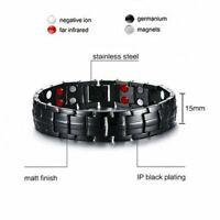 4 in 1 Men Titanium Magnetic Energy Germanium Armband Bracelet Health Bio Black