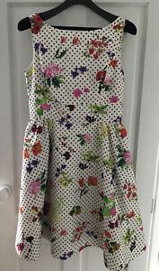 Oscar de la Renta Cream Silk dress with spots and multicoloured flowers, Size 16