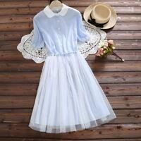 Summer Mori Girl Sweet Mesh Stitching Lolita Waist Short Sleeve One Piece Dress