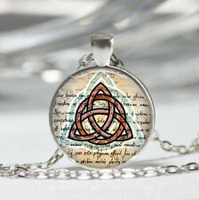 Triquetra photo Tibet silver dome Glass Cabochon Necklace chain Pendant #514