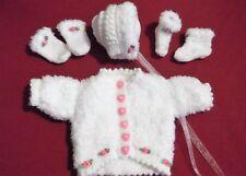 early handknit jacket mitten bonnet set 4 baby / reborn NEW / white pink roses