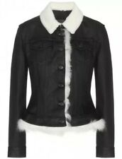 Burberry Brit Pocklington Black Denim Jacket Shearling Collar & Trim Sz Small S