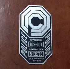CUSTOM ROBOCOP SERIAL DATA PLATE FOR YOUR COSTUME 1987 ARMOR HELMET OCP