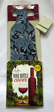 Wine Bottle Cover Blue Swirls Fabric Reusable Washable Gift Bag Included New
