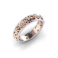 Fashion Women 925 Silver & 18K Rose Gold Filled Wedding Band Floral Ring Sz6-10
