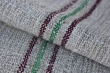 GRAINSACK GRAIN SACK vintage feedsack MAROON + GREEN cotton linen mix bag