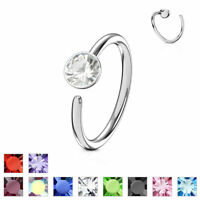 Nose Ring Hoop Cartilage Ring 20 gauge 316L Surgical Steel Bendable CZ Gem