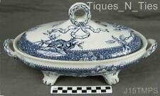 Victorian Aesthetic Movement Cobalt Blue Transferware Covered Vegetable Bowl (JJ