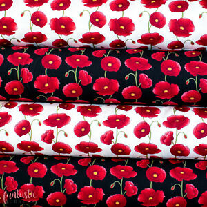 Large Poppy Floral Print Cotton Poplin - Ditsy Vintage Rose Floral Material