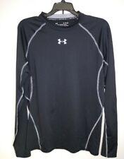Mens Under Armour Heat Gear Compression Black Gry Shirt Xl Long Sleeve