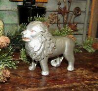 Original Antique Vtg Arcade Williams Cast Iron Lion Fine Haired Main Penny Bank