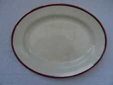 """Vintage  Empire Shelton Ivory Serving Plate 12"""" x 9 1/4"""". Red/Gold/Cream.Pottery"""