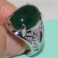 Size 9-11 Handmade Mens Stainless Steel Silver Birthstones Jade Solitaire Ring