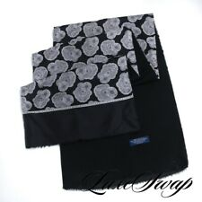 Anonymous Hand Made in Italy Reversible Silk Wool Black Silver Medallion Scarf
