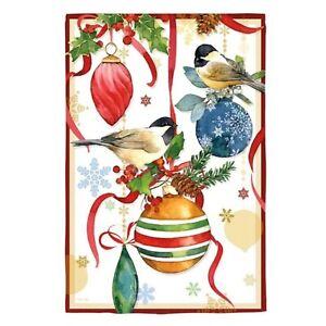 Evergreen Large Outdoor House Garden Flag 29x43 Christmas Ornamental Chickadees