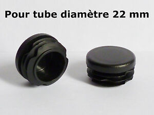 4 Bouchons embouts pour tube rond plastique PVC NOIR diamètre 22 mm