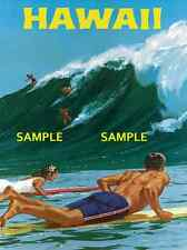 "Hawaii (  Big Wave Surfing ) 11"" x 17"" Collector's Travel Poster Print - B2G1F"