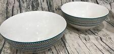 Cynthia Rowley  2 Porcelain Cereal bowls Chevron Zig Zag  Grn Blue Turq