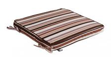 Garten Stuhl Auflage Sitzkissen Stuhlkissen Kissen Streifen braun 40x40cm