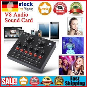 V8 Externe Soundkarte USB-Schnittstelle Mikrofon Mixer für Audio/Broadcast/Live