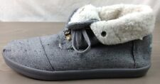 Toms Boots 10 Womens Highlander Hemp Faux Shearling Lined Foldover Tweed Gray