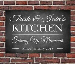 PERSONALISED METAL BLACK CHALK STYLE  KITCHEN SIGN HOME GIFT MUM ANNIVERSARY
