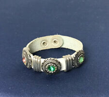 Boho Style Leather Snap Bracelet with Gemstone Conchos.