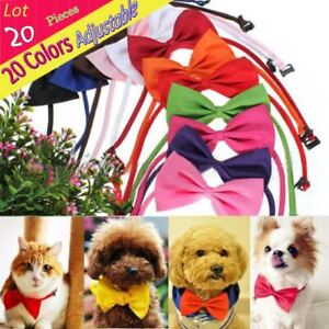 Wholedale 20 PCS/ LOT Solid Bow Tie Plain Butterfly Ties Pet Dog Puppy Bows