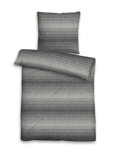 Biberna Melange Flanell Baumwolle Bettwäsche 2tlg Streifen grau 155x200