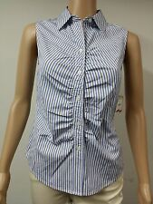 NEW FAST to AUS - Anne Klein - Sleeveless Striped Blouse Size 8 - Navy Blue $69