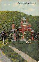 Emporium Pennsylvania~High School~Long Board Walk Sidewalk~1912 Postcard