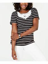 KAREN SCOTT Womens New 0217 Black Lace Crochet T-Shirt Casual Top L B+B
