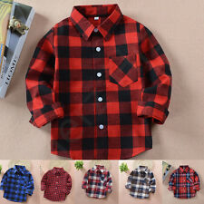 KIDS BOY GIRL PLAID CHECK SHIRT LONG SLEEVE FLANNEL BUTTON DOWN BLOUSE TOP 2-10Y