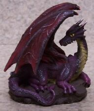 """Figurine Dragon on a Rock purple Medieval Fantasy Mythology New with gift box 4"""""""