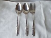 Meat FORK & 2 Serving Spoon Community WHITE ORCHID Oneida Silverplate Silverware