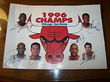 1996 Chicago Bulls 11 x 16 Chicago Sun Times Poster Signed auto'ed Jordan Pippen