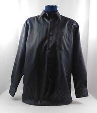 Leonardi Italy Black and White Striped Dress Shirt Single Cuff  Men's Large