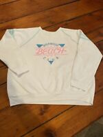 Vintage Wildwood Beach Club White Sweatshirt Size Large Women's Bright Colors