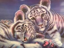 Beautiful White Tiger Framed 3D Picture in Black frame