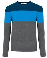 New Mens Thin Knit Jumper Striped Crew Neck Top Pullover Sweater Long Sleeve