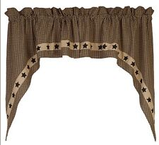 Country House New Colonial Black Star Swag Curtains 72 X 36""