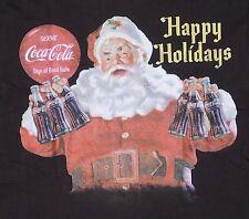 Coca-Cola Vintage Graphics Adult Mens tee Shirt sz MED Santa Retro Holidays