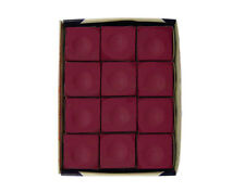 Silver Cup BURGUNDY Pool Billiard Cue Stick Chalk (12 Pack)
