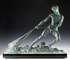 Sehr große Art Deco Skulptur Frankreich um 1920 Der Fischer 20kg 65cm