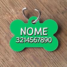 Medaglietta PERSONALIZZATA cane forma di osso NOME telefono verde