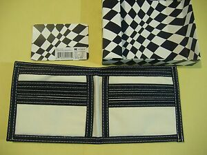 BLACK AND WHITE SCREEN PRINT SOFT CANVAS BIFOLD WALLET